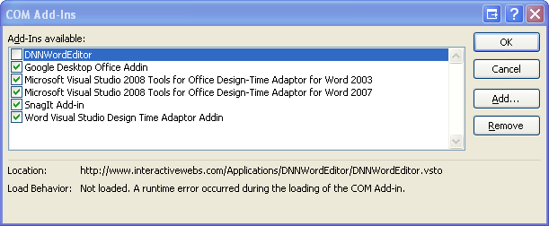 Word not allowing Add in  - DNN Word Editor - InteractiveWebs